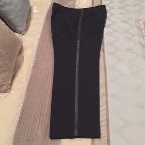 Larry Levine dress pants with faux leather detail